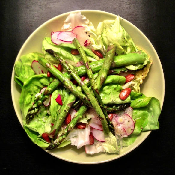 Finally, a luscious bibb lettuce salad with radishes, scallions, and roasted almonds, roasted asparagus, and topped with lemon juice, olive oil and a liberal dash of salt and pepper!